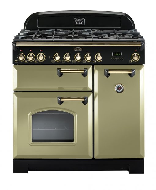 Rangemaster Range Ovens Online - Rangemaster Classic Deluxe 90cm Dual Fuel Cooker Olive Green/Brass