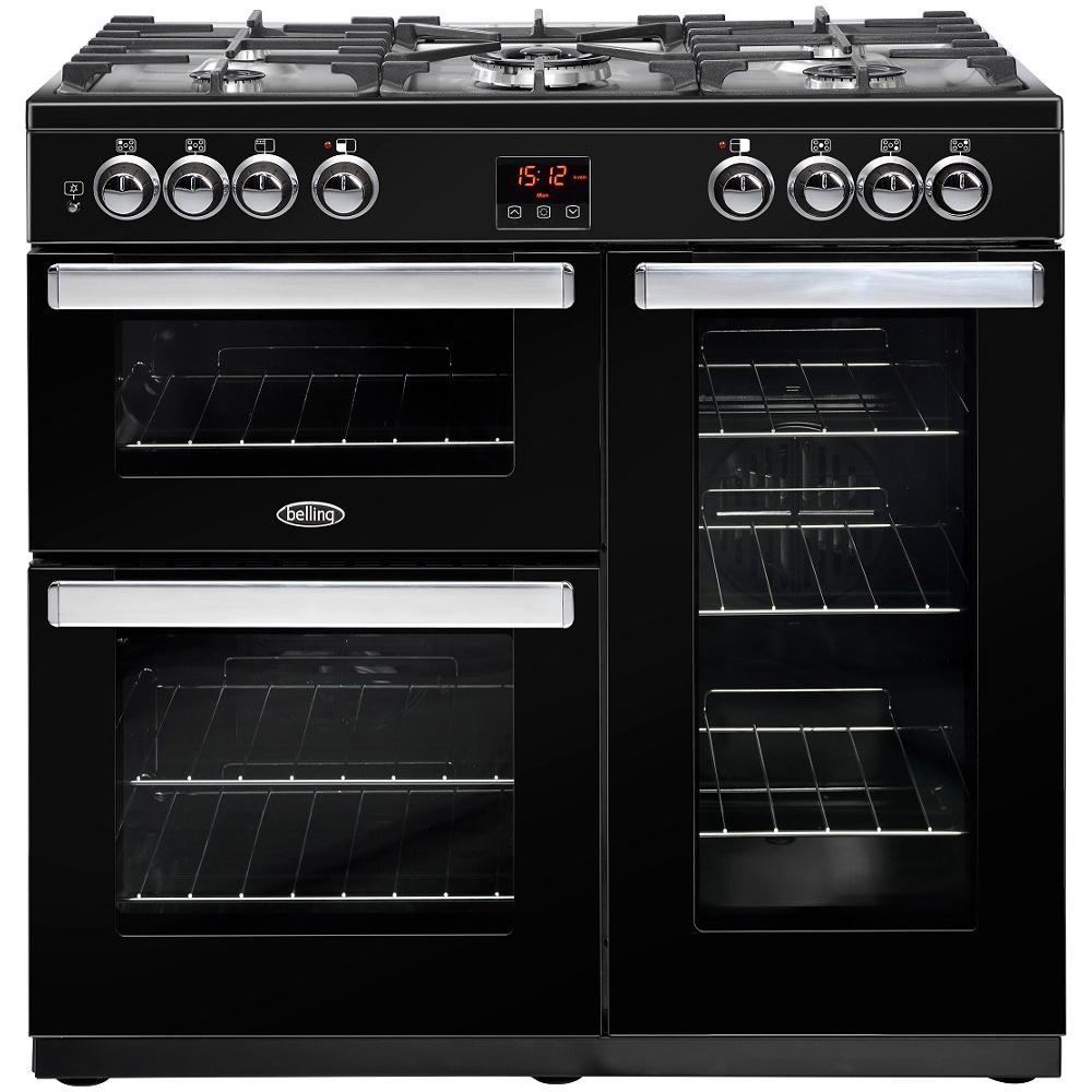 Image of Belling 444444071 CookCentre 90cm Dual Fuel Range Cooker - Black
