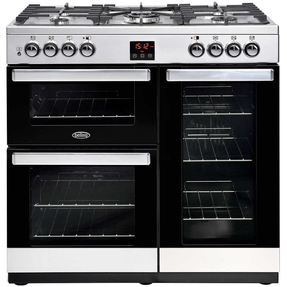 Image of Belling 444444070 CookCentre 90cm Dual Fuel Range Cooker - Stainless Steel