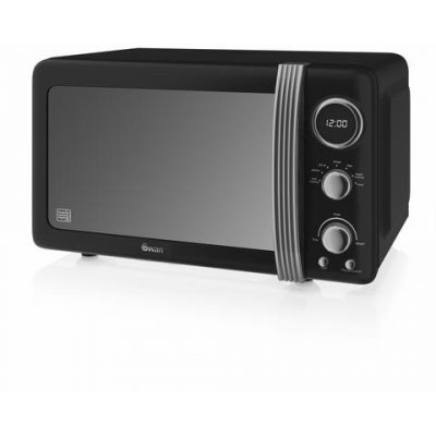 Swan Retro Microwave in black