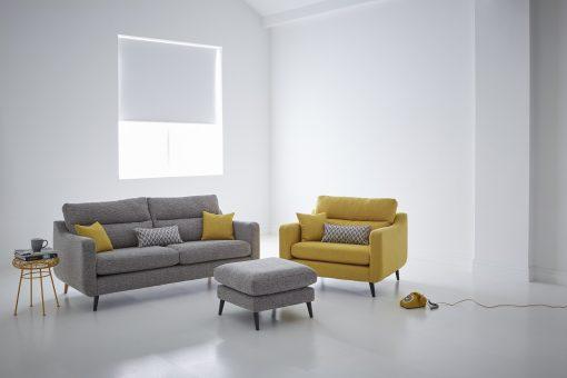 Logan large sofa, snuggler_ stool - Ealing Charcoal