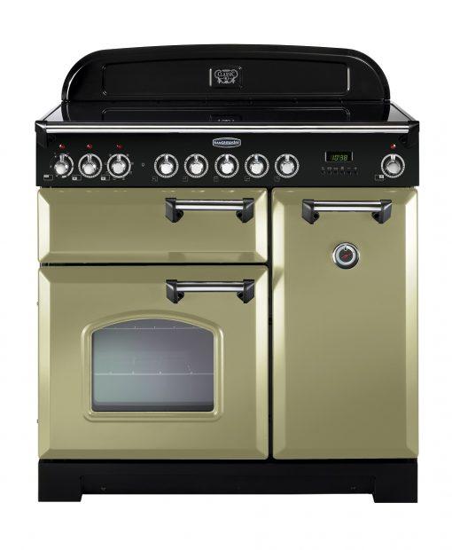 Rangemaster Range Ovens Online - Rangemaster Classic Deluxe 90cm Ceramic Cooker Olive Green/Chrome