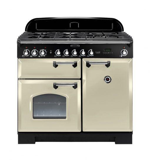 Rangemaster Range Ovens Online - Rangemaster Classic Deluxe 100cm Dual Fuel Cooker Cream/Chrome