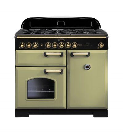 Rangemaster Range Ovens Online - Rangemaster Classic Deluxe 100cm Dual Fuel Cooker Olive Green/Brass
