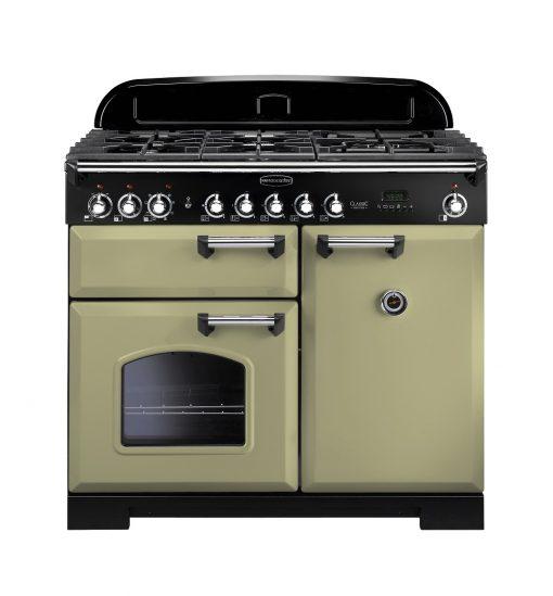 Rangemaster Range Ovens Online - Rangemaster Classic Deluxe 100cm Dual Fuel Cooker Olive Green/Chrome