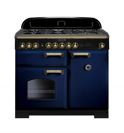 Rangemaster Range Ovens Online - Rangemaster Classic Deluxe 100cm Dual Fuel Cooker Blue/Brass
