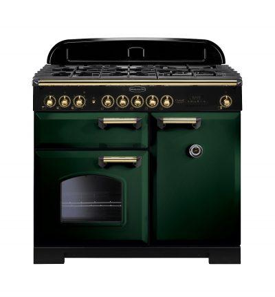 Rangemaster Range Ovens Online - Rangemaster Classic Deluxe 100cm Dual Fuel Cooker Green/Brass