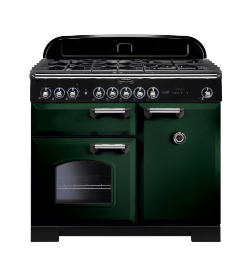 Rangemaster Range Ovens Online - Rangemaster Classic Deluxe 100cm Dual Fuel Cooker Green/Chrome