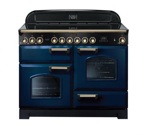 Rangemaster Range Ovens Online - Rangemaster Classic Deluxe 110cm Ceramic Cooker Blue/Brass