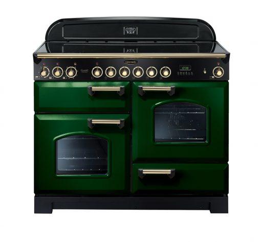 Rangemaster Range Ovens Online - Rangemaster Classic Deluxe 110cm Ceramic Cooker Green/Brass