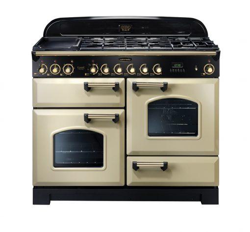 Rangemaster Range Ovens Online - Rangemaster Classic Deluxe 110cm Dual Fuel Cooker Cream/Brass