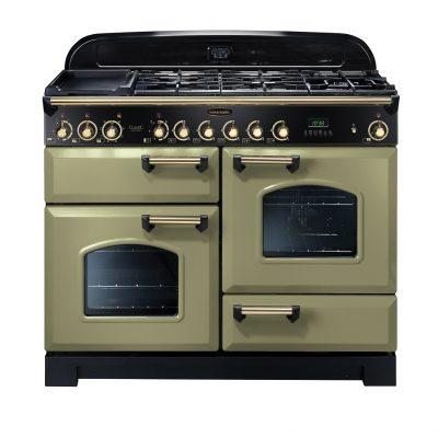 Rangemaster Range Ovens Online - Rangemaster Classic Deluxe 110cm Dual Fuel Cooker Olive Green/Brass