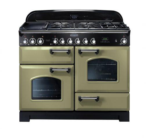 Rangemaster Range Ovens Online - Rangemaster Classic Deluxe 110cm Dual Fuel Cooker Olive Green/Chrome