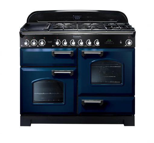 Rangemaster Range Ovens Online - Rangemaster Classic Deluxe 110cm Dual Fuel Cooker Blue/Chrome