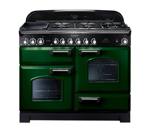 Rangemaster Range Ovens Online - Rangemaster Classic Deluxe 110cm Dual Fuel Cooker Green/Chrome