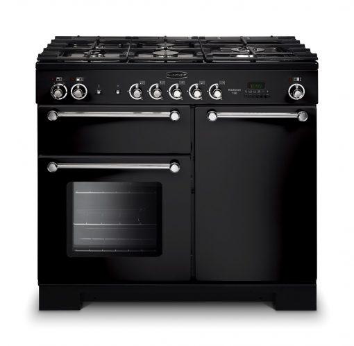 Rangemaster Range Ovens Online - Rangemaster Kitchener Black 100cm Dual Fuel Cooker