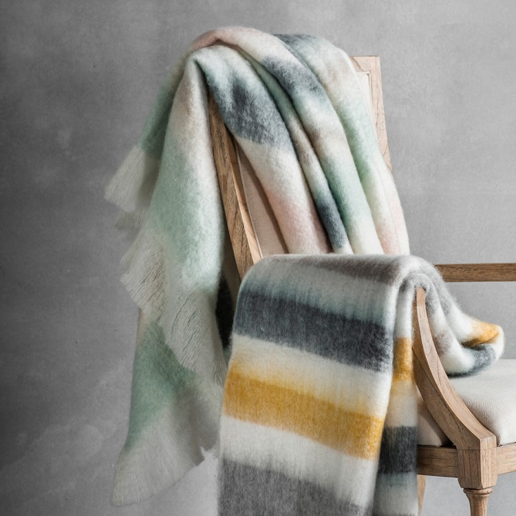 Image of Frida Mohair Feel Throw - Duck Egg