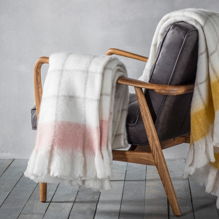 Image of Agnes Mohair Feel Throw - Blush