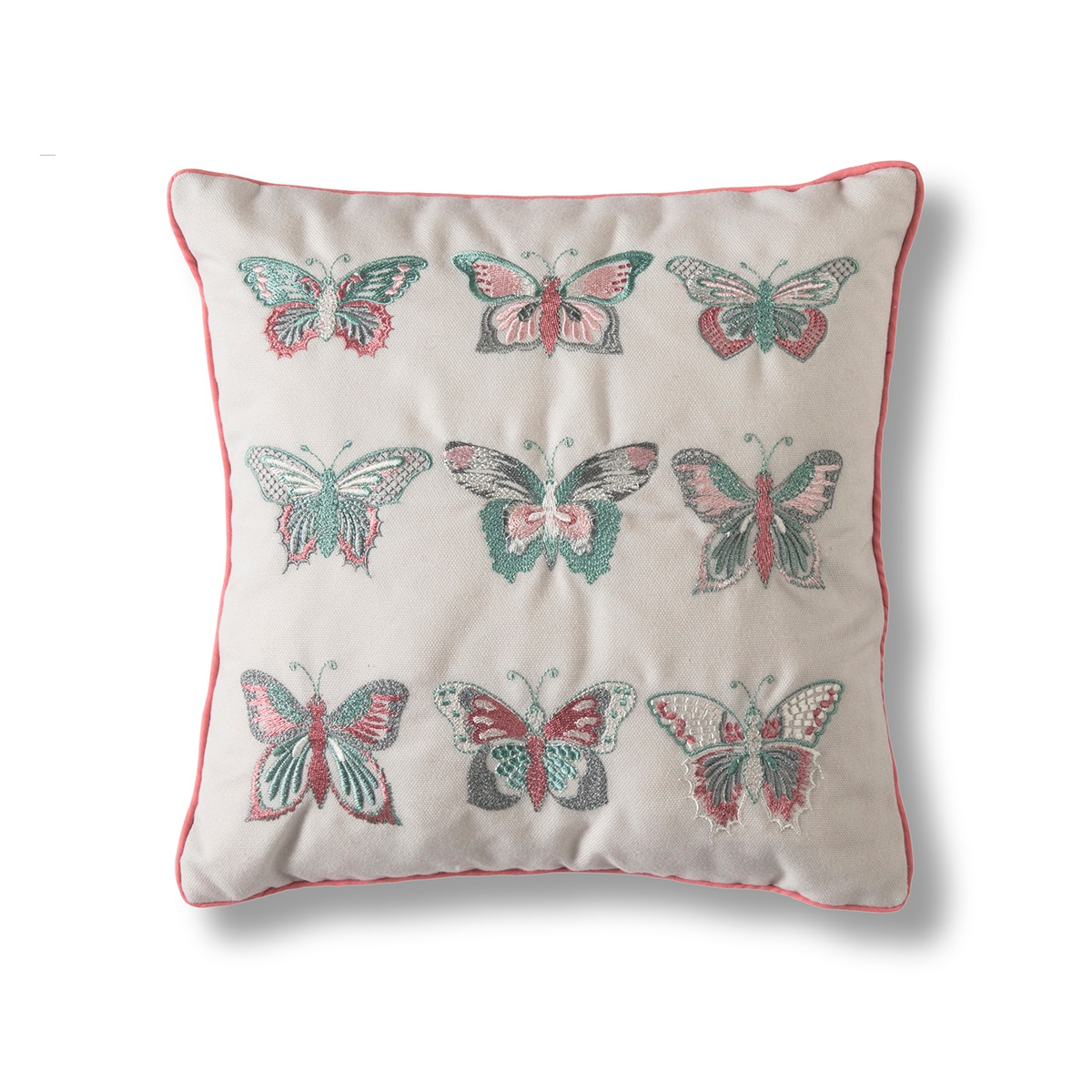 Image of Embroidered Butterflies Cushion - Natural