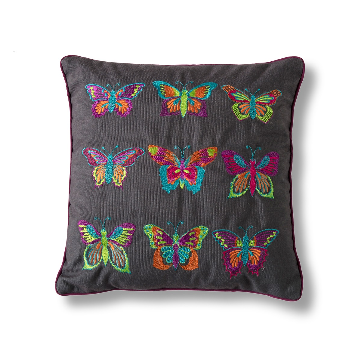 Image of Embroidered Butterflies Cushion - Grey