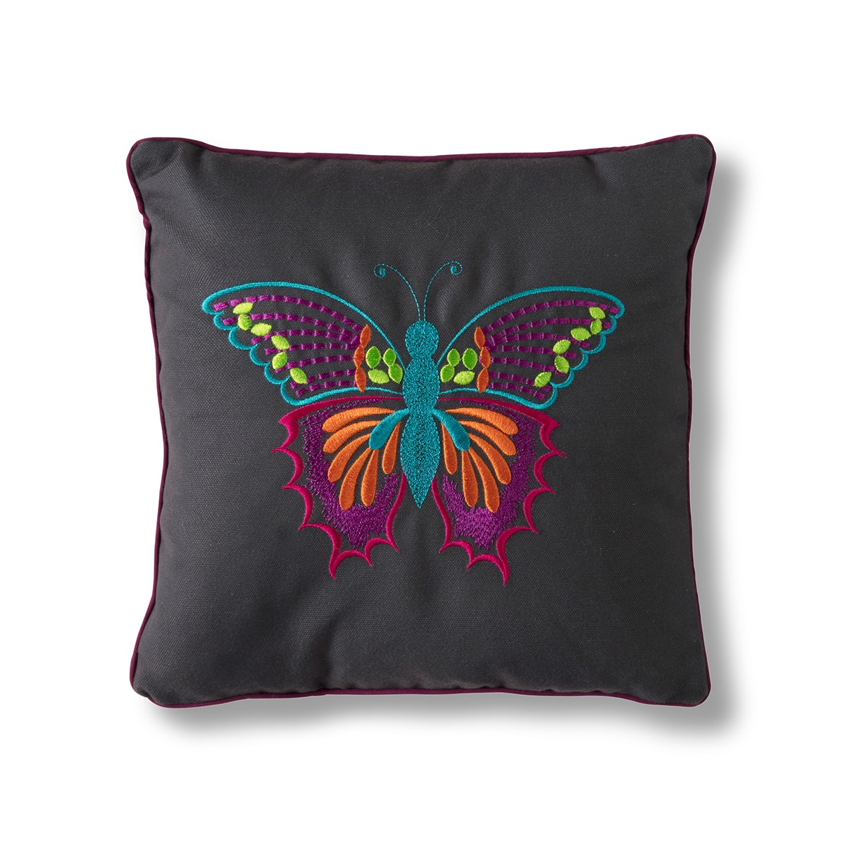 Image of Embroidered Butterfly Cushion - Grey