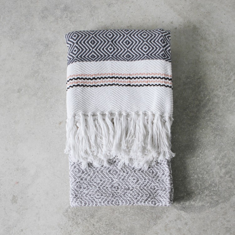Image of Ada Woven Throw - Black/White