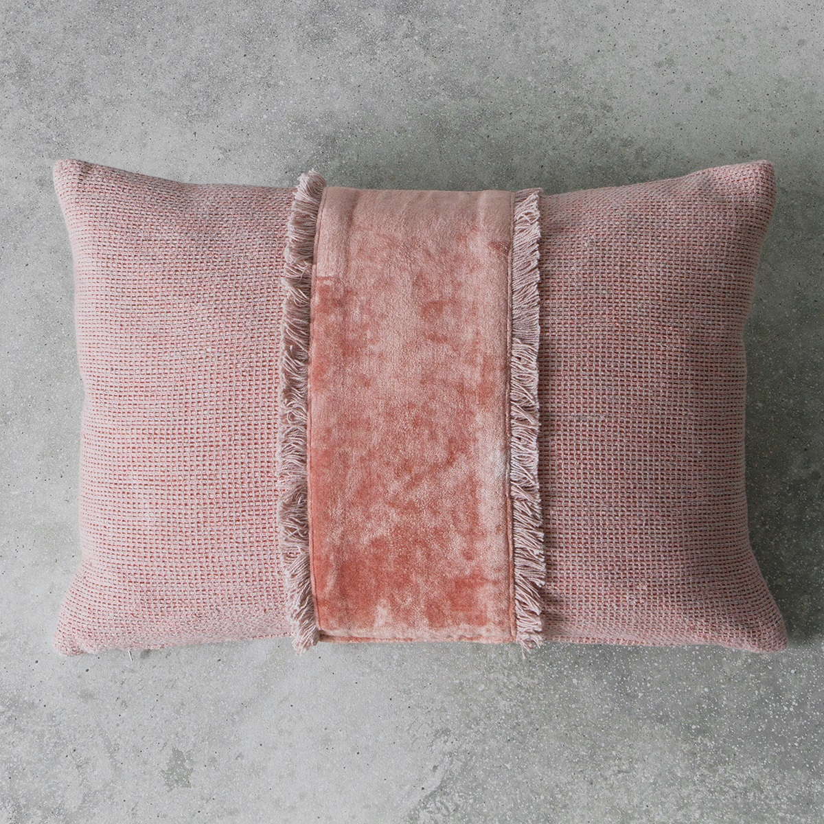 Image of Ariel Embellished Fringe Cushion - Blush
