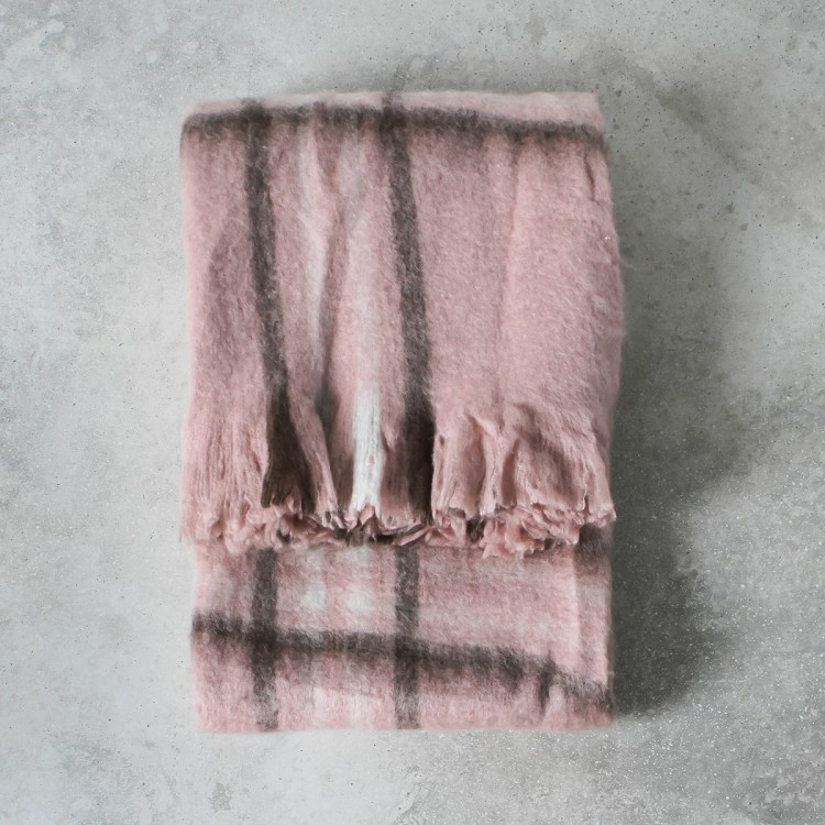 Image of Alma Mohair Check Throw - Blush