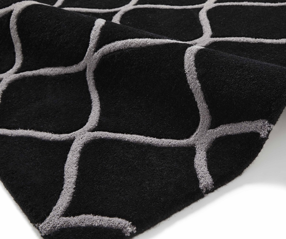 Image of Elements 120cm X 170cm Hand Tufted Wool Rug - Black