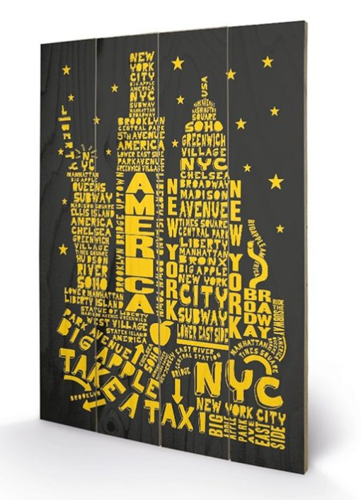 SW11471P Citography New York Wooden Board 1