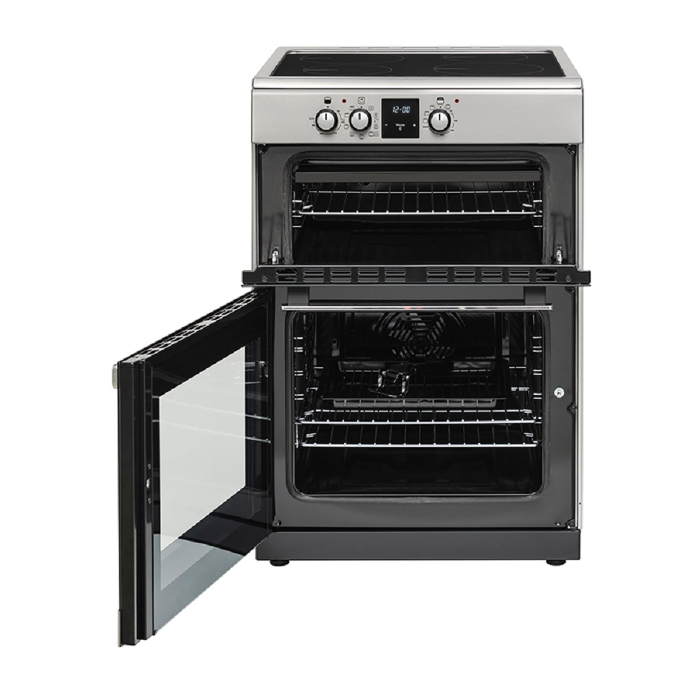 belling electric double oven with 4 induction hobs knees. Black Bedroom Furniture Sets. Home Design Ideas