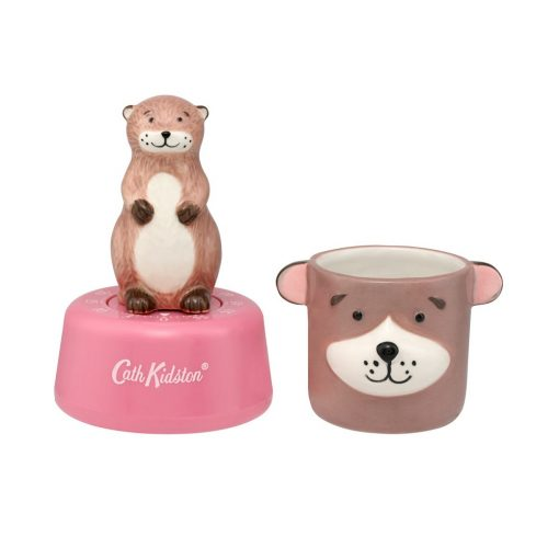 775564-OTTER EGG TIMER AND EGG CUP SET