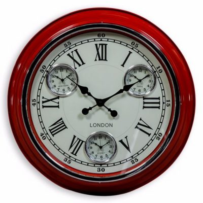 9000032253 Red_White Face 'London' Multi Dial Wall Clock
