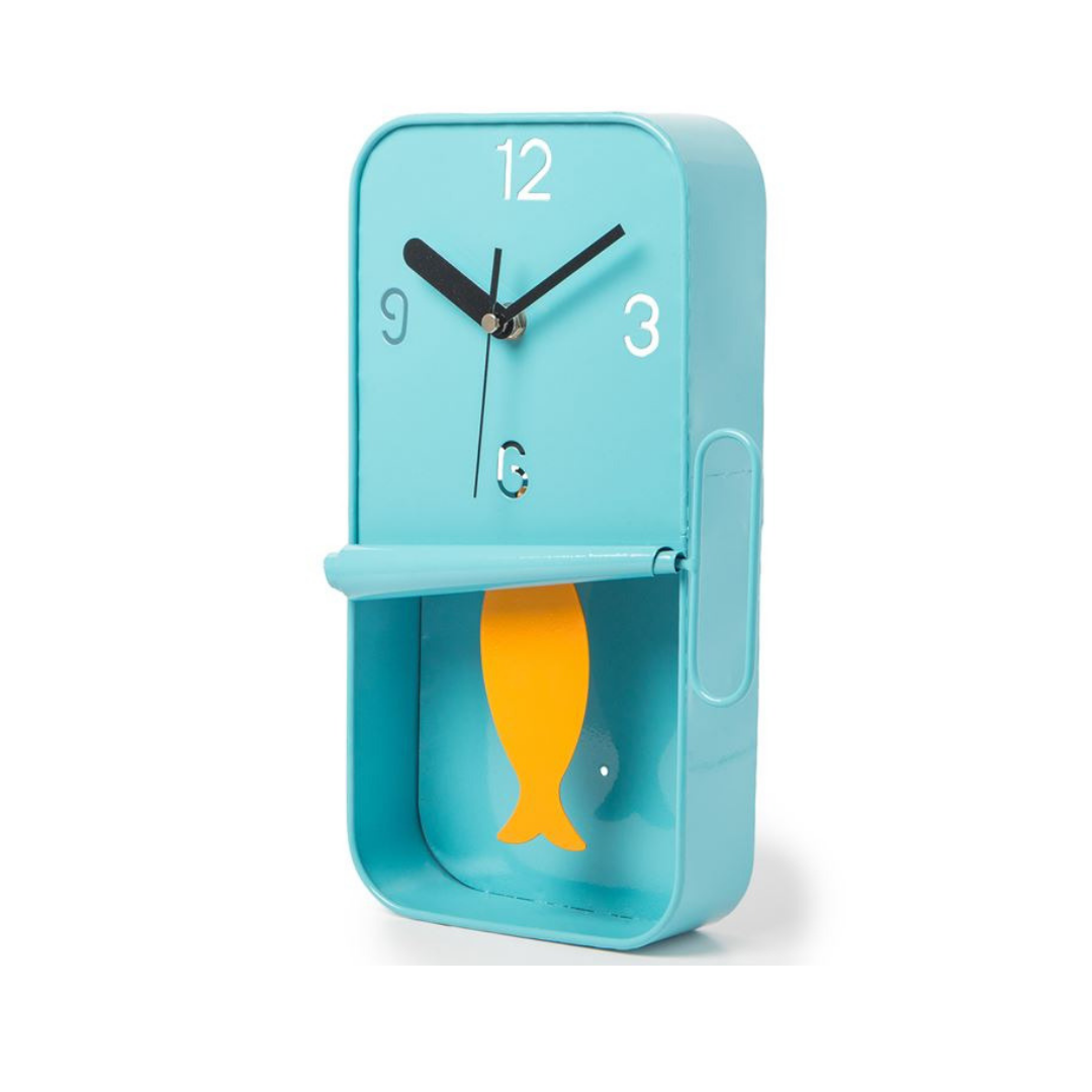 Blue Metal Sardine Tin Pendulum Wall Clock Knees