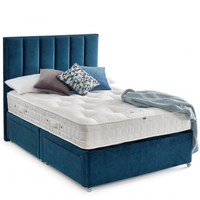Elise kingsize divan bed and mattress set with blue upholstered headboard and storage draws