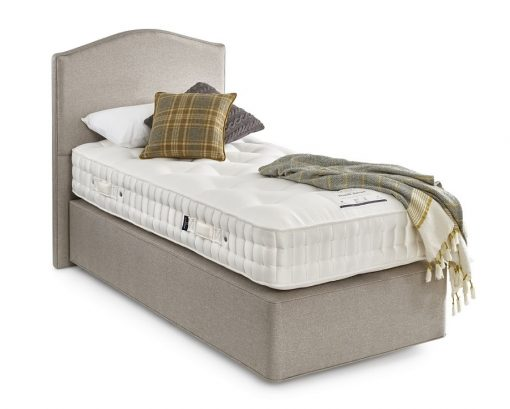 Somnus Regent bed and mattress set single divan bed with grey headboard