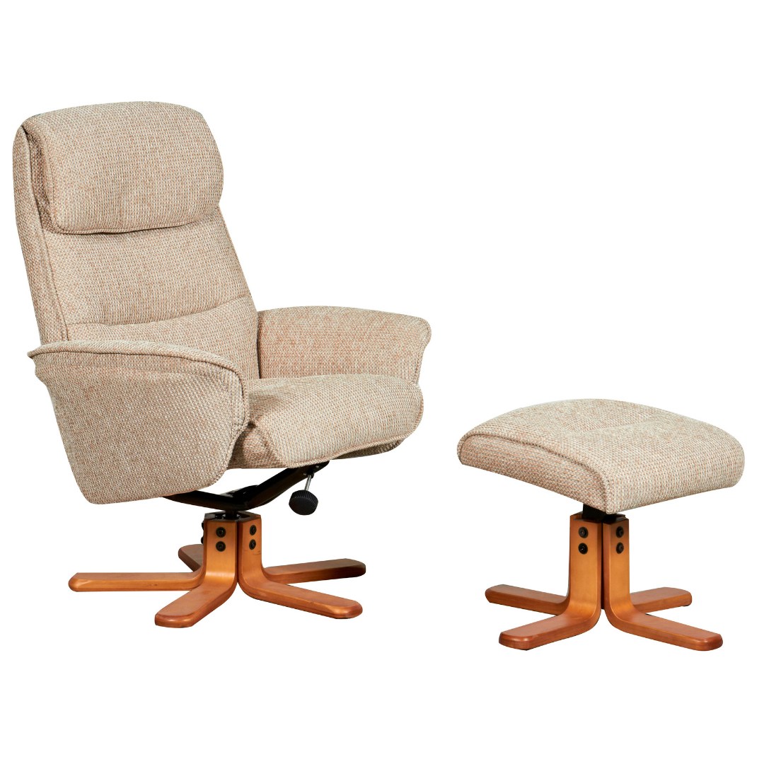 Image of Alma Swivel Recliner Chair & Footstool - Stone