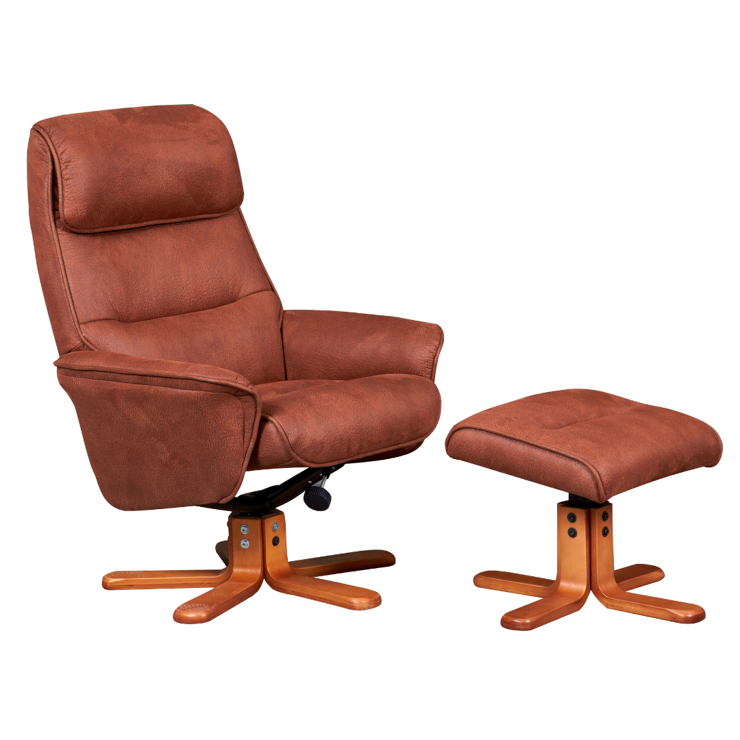 Image of Alma Swivel Recliner Chair & Footstool - Tan