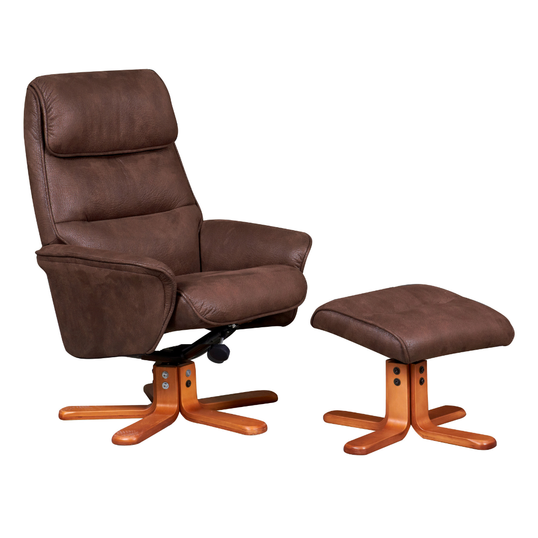Image of Alma Swivel Recliner Chair & Footstool - Chocolate