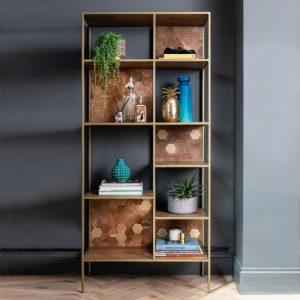 Magnus Dark Acacia Wood Bookcase Lifestyle