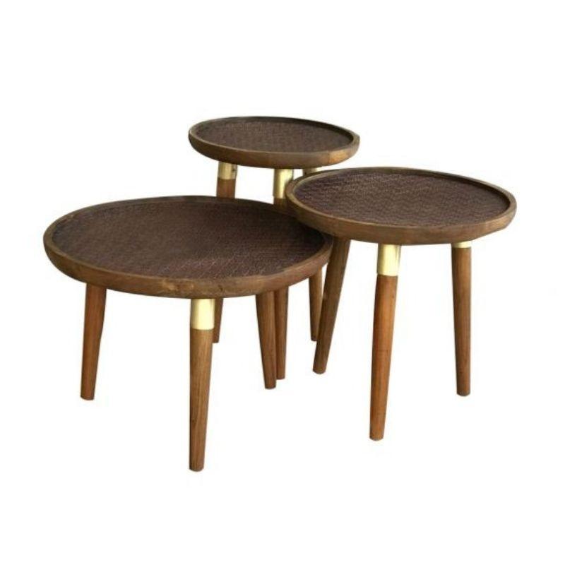 Nora Nest Of 3 Coffee Tables Dark Wood Knees Co Uk