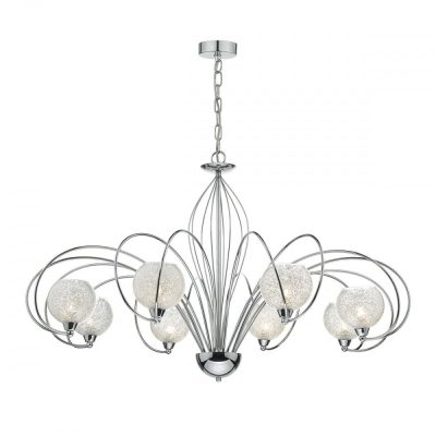 Dar PIQ0550 Pique 5 Light Chandelier In Polished Chrome And