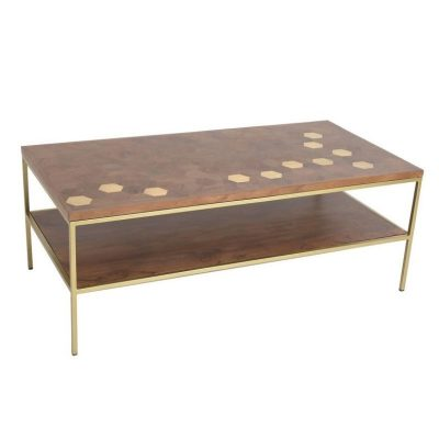 magnus coffee table gold and acacia wood