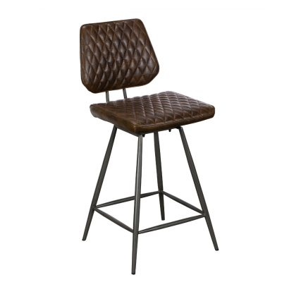Clay brown bar stool with padded seat