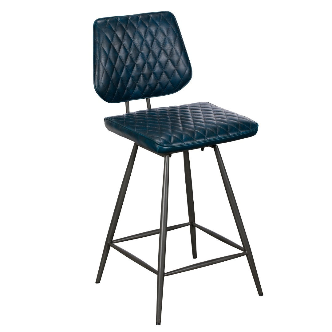 Picture of: Clay Faux Leather Bar Stool Blue Knees Co Uk