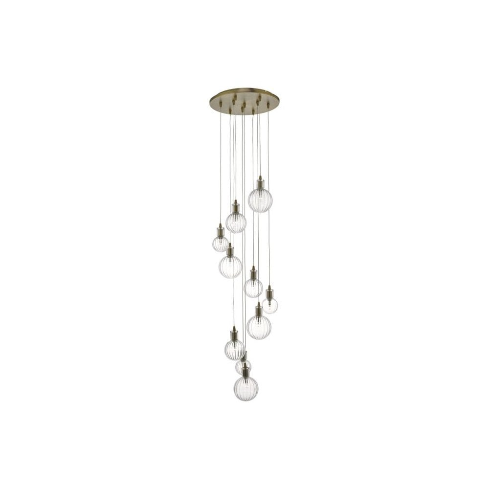 Dar Lighting Dita 10 Light Cluster Pendant Brass Glass Knees Trowbridge