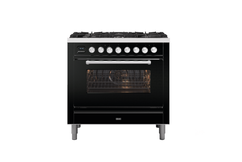 Image of Ilve P096WE3/MG Roma 90cm Dual Fuel Range Cooker - Graphite