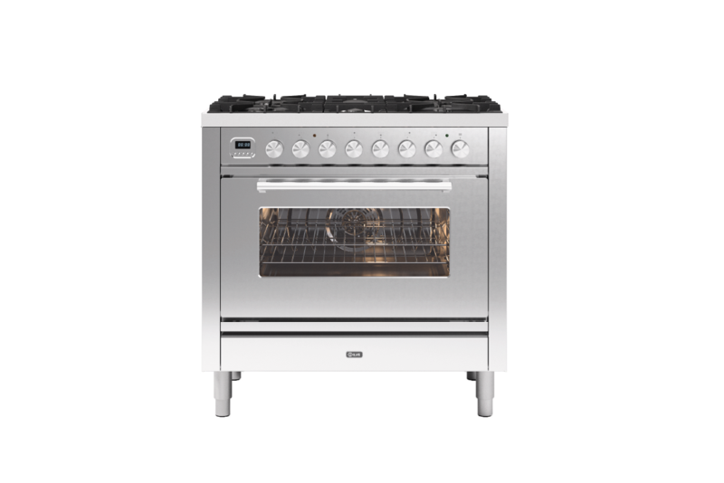 Image of Ilve P096WE3/SS Roma 90cm Dual Fuel Range Cooker - Stainless Steel
