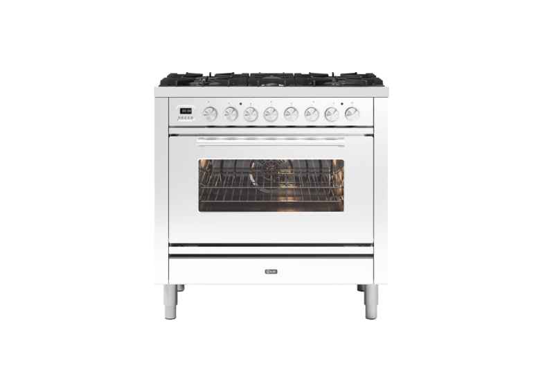 Image of Ilve P096WE3/WH Roma 90cm Dual Fuel Range Cooker - White