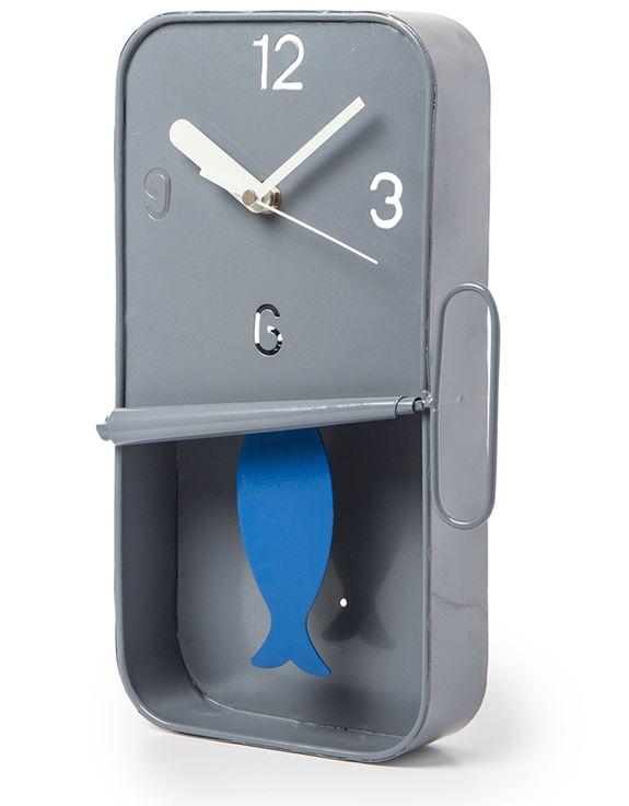 Image of Grey Metal Sardine Tin Pendulum Wall Clock
